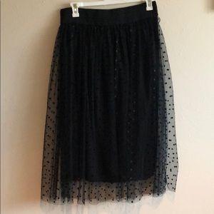 Black tulle polka dot skirt